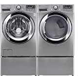WM3370HVA+DLEX3370V+WDP4V X2!- Ultra-Skill Laundry System with ELECTRIC Steam Dryer PLUS Matching Storage Pedestals In Graphite Steel Color