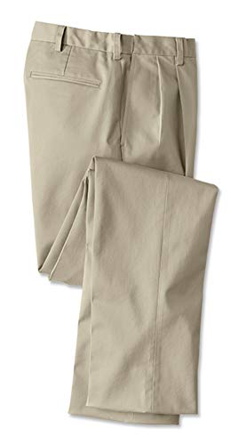 Orvis Men's Wrinkle-Free Comfort-Waist Stretch Cotton Chinos Pleated, Khaki, Cuffed, 36W X 33L