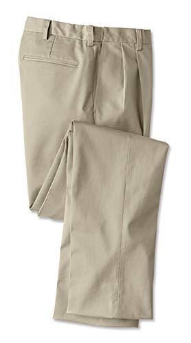 Orvis Men's Wrinkle-Free Comfort-Waist Stretch Cotton Chinos Pleated, Khaki, Cuffed, 40W X 30 1/2L