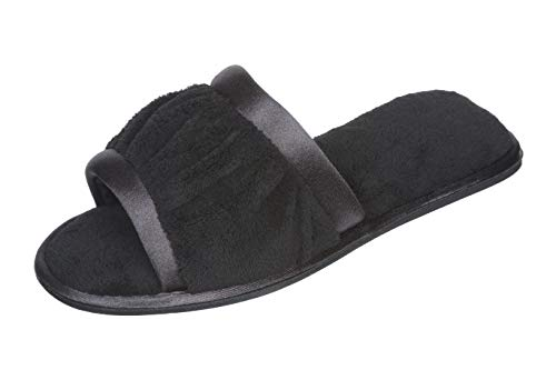 Image of Roxoni Women's Open Toe Slide Slipper ; Ideal Terry Cloth House Shoe for Indoor and Outdoor