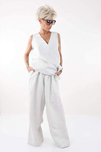 Women White Harem Linen High Waisted Pants