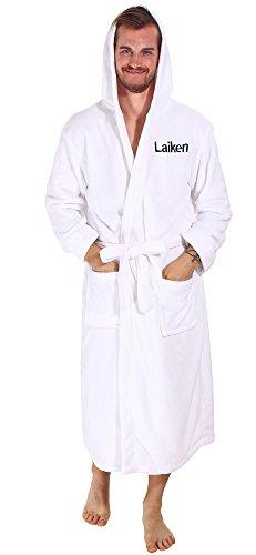 - Personalized Customized Unisex Plush Fleece Hooded Kimono Bathrobe White