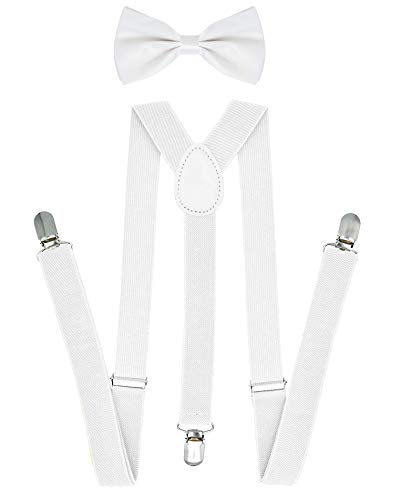 White Bow Ties and Suspenders for Men Suspender Dress Pants Bow Tie for Men ()