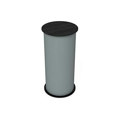 Vispronet Round Portable Exhibition Trade Show Silver Podium Table Counter Stand - Expo Counter Top Design (Black)