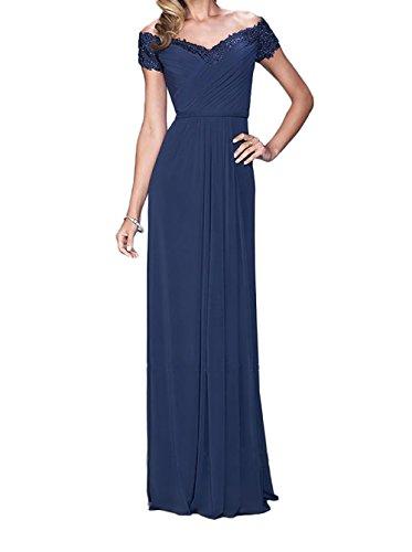 Etuikleider Abschlussballkleider Lang Ballkleider La Abendkleider Braut Spitze Blau Dunkel Promkleider Brautmutterkleider mia wzAqZOC