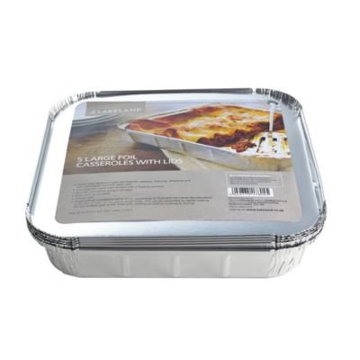 Lakeland 1.5L Foil Casserole Dishes with Lids x 5 - Reusable & Recyclable