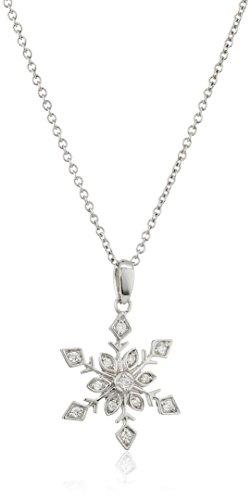 Platinum-Plated Swarovski Zirconia Round Snowflake Pendant Necklace, 16+2 Extender