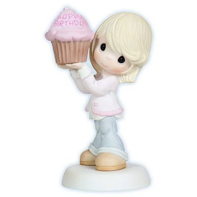 Precious Moments Woman Lady with Large Happy Birthday Cupcake Figurine