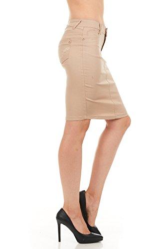 FGR Girl's Stertchy Cotton 5 Pocket Color Denim Skirt Khaki Size 12 by FGR (Image #9)