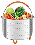 Flight Steamer Basket for 6 or 8 qt Quart Instant Pot Pressure Cooker Accessories Stainless Steel Steamer Insert with Silicone Handle and Feet Perfect for Steaming Vegetable, Meat, Hard Boiled Eggs