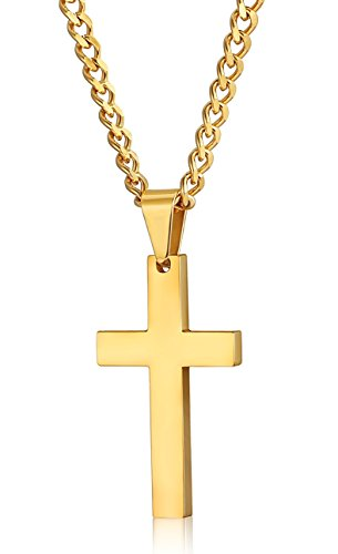 FIBO STEEL Stainless Steel Cross Pendant Necklace for Men Women Curb Chain, 22 Inches ()