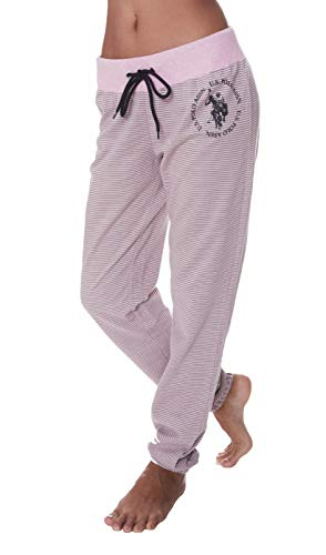 U.S. Polo Assn. Womens Logo French Terry Jogger Lounge Sleep Pajamas Sweat Pants Light Pink Heather -