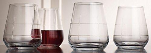 Palais Haut De Gamme Wine & Beverage Glass Collection - Set of 4 (Square Cut Stemless, 13 Ounce)