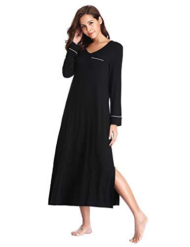 Lusofie Long Nightgown for Women's V-Neck Sleepshirts Ultra-Soft Sleepwear (Black, Medium)