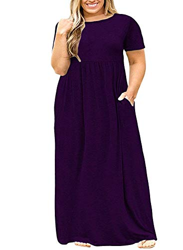 Women's Short Sleeve Pockets Maternity Maxi Dress Summer Casual T-Shirt Dresses Purple 5x