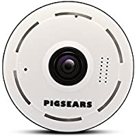 Pigsears 3601 Mini Wireless IP Camera Wifi IP Camera Security Surveillance System Baby Pet Monitor, Wide Angle 360°, 2-Way Audio, Motion Detection, Night Vision For IOS Android (1080p HD)