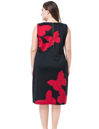 Sin Casual la Estampado Negro Oficina Vestido Manga Mujeres con Grandes Vestido Chicwe Longitud Rodilla a de Mariposa en Rojo Tallas FpqvI