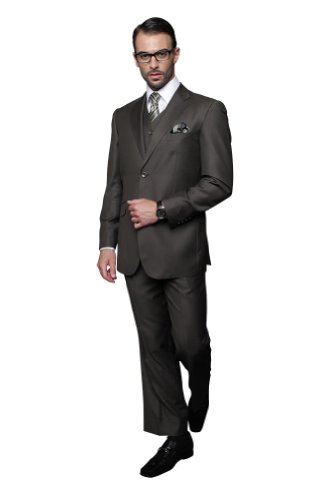 Statement 3 PC MEN'S SUIT TZ-100 Italian Solid Color Super 150'S Wool - Super 150's Mens Italian Suits
