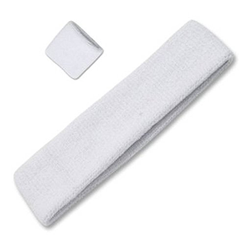 Headband and Wristband Combo 100% Terry Cloth, White