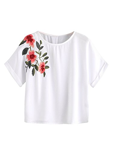 Embroidered T-shirt Medium White (SweatyRocks Women's Casual Summer Tops Floral Embroidered Short Sleeve T Shirt, White, Medium)