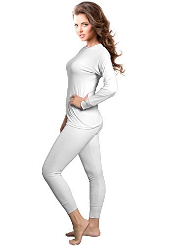 Rocky Womens Thermal 2 Pc Long John Underwear Set Top and Bottom Smooth Knit (Large, White)
