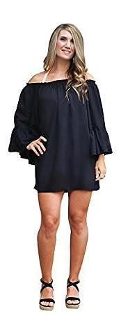 Womens Off Shoulder Boho Swimsuit Cover-Up/Top/Mini Dress (One Size (S-L), Black)
