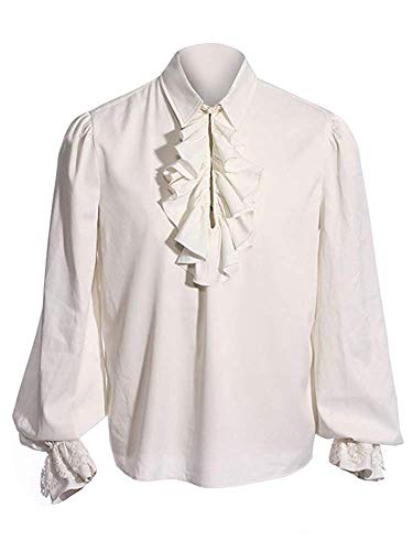 Mens Pirate Medieval Shirts Ruffle Renaissance Costume Tee Viking Halloween Mercenary Scottish Jacobite Ghillie Tops -