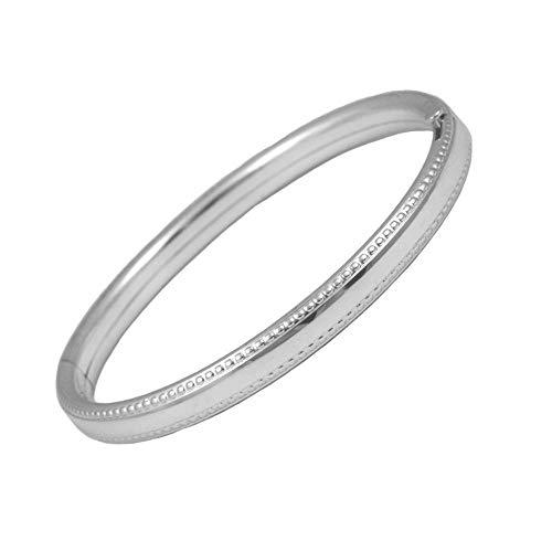 (Toddler Sterling Silver Beaded Edge Design Bangle Bracelet (5 1/4 in))
