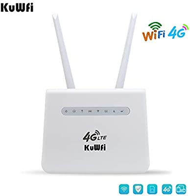 KuWFi 4G Router, 300Mbps 4G LTE Router CPE con Tarjeta SIM y ...