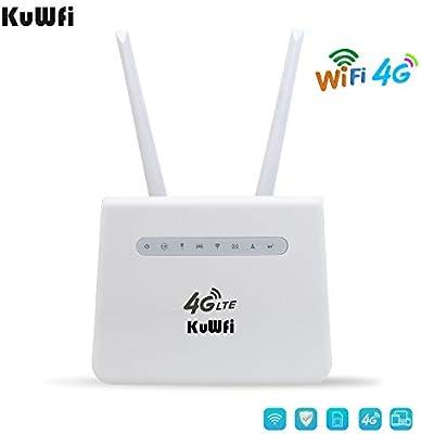 KuWFi 4G Router, 300Mbps 4G LTE Router CPE con Tarjeta SIM y ...