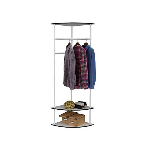 MULSH Clothing Rack Multi-Functional Corner Garment Rack Coat Rack with Hanger and 2-Tier Durable Shelf for Shoes Clothes - Corner Rack