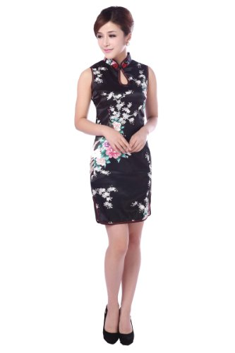 JTC(TM) Cheongsam Chinese Dress Han Costume Sleeveless Qipao Skirt 4 Colors (4, Black) by Jtc