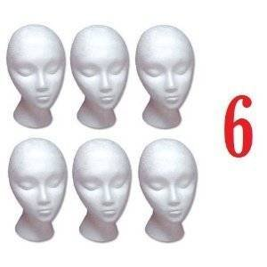 Styrofoam Model Heads, Hat, Wig Foam Mannequin 6 Pack