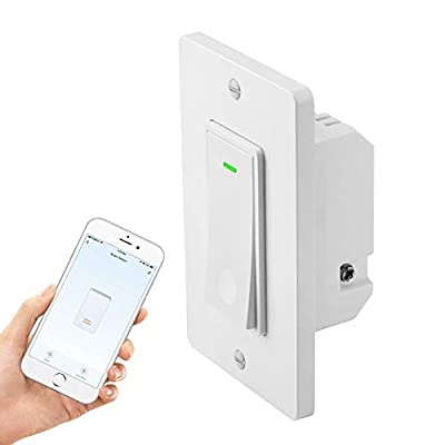 Smart Light Switch,15A Smart Wifi Light Switch Compatible with Alexa, Google home and IFTTT, No Hub required, Easy and Safe installation (1pack)