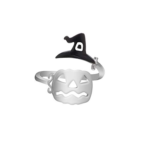 Cute Halloween Ghost Witch Broom Finger Ring Open Rings Party Cosplay Jewelry Valentine's Day Gifts for Girlfriend Boyfriend (US -