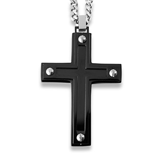 West Coast Jewelry | Crucible Black Plated Stainless Steel Black Enamel Inlay with Screw Accents Cross Pendant ()