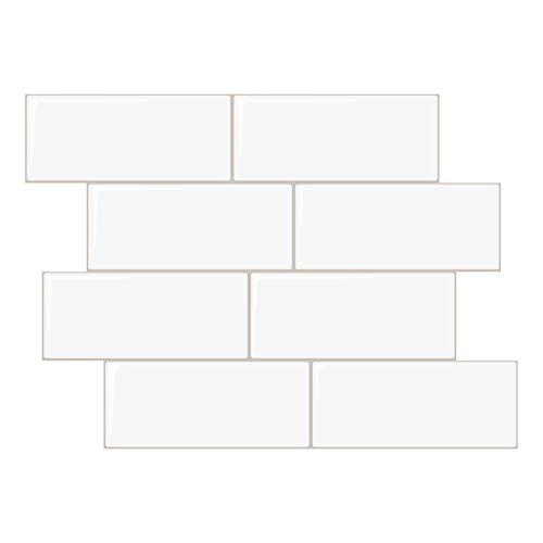 Peel and Stick Subway Tile, Stick on Tiles Backsplash for Kitchen & Bathroom 5 Sheet (White, Thicker Design)