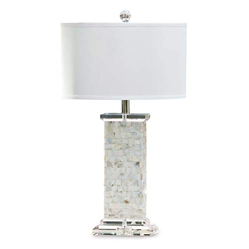 Regina Andrew Detroit Natural Brook Decorative Table Lamp | Standing 28 inches Tall with Single 3-Way 150 Watt Max Socket and Linen Shade for a Living Room, Bedroom or Entryway (Shade Of Mother Lamp Pearl)