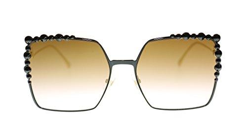Fendi Womens Sunglasses FF0259S 2O5 Black/Brown Gradient Lens Square 60mm Authentic