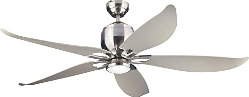 Monte Carlo 5LLR56BSD-V1 Protruding Mount, 5 Silver Blades Ceiling fan with 12 watts light, Brushed Steel (Monte Carlo Ceiling Iron)