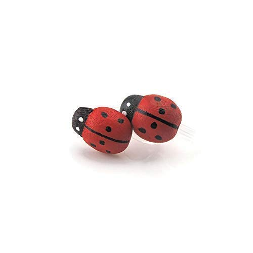 Ladybug Invisible Clip On Earrings for Non-Pierced Ears, Metal Free (Ladybug Resin Earrings)