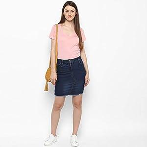 StyleStone (3377AngleSkirt) Women's Denim Skirt with Stitch Detail