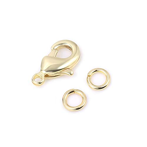 (Wholesale Pack- 18K Gold 50 PCS 9mm Small Lobster Clasps and 100 PCS 4mm Open Jump Rings for Jewelry Making & Finding)