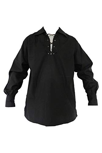 newhui Men's Scottish Jacobite Lace Up Ghillie Shirt Renaissance Medieval Poet's Rogue Shirt Black