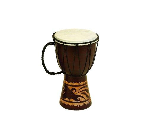 Benzara Toca Wood Drum Décor with Nylon Ropes, Brown by Benzara