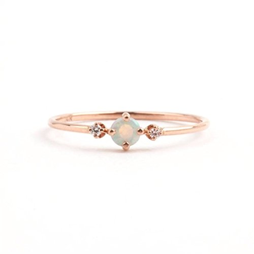 Meolin Womens Ring Opal Crystal Band Rings Finger Rings,Zinc Alloy,Size8