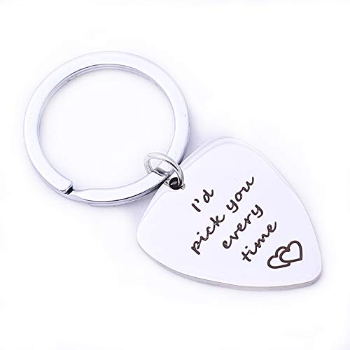 Runalp I'd Pick You Every Time Keychain Stainless Steel - Musician Guitarist Husband Boyfriend Gift