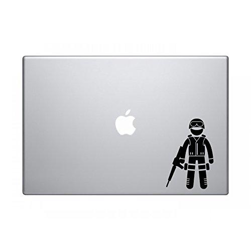 Stick Man Swat Team Member - Black Vinyl Decal Sized For Macbook (Decals Swat)