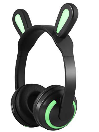 (Rabbit Ear Headphones,kedera Headphones Foldable On Ear Headsets with 7 Color LED Glowing Light 3.5mm Audio Jack Headset)