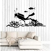 Scuba Diving Center Diver Ocean Murals Black Wall Decals Mural Decor Vinyl Sticker SK8615 -